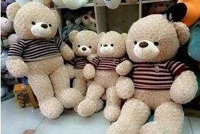 gấu bông áo len teddy lông xoắn