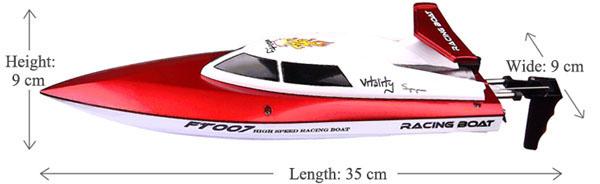kích thước cano điều khiển từ xa tốc độ cao ft007