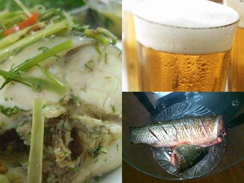 Món ngon cá trắm đen hấp bia