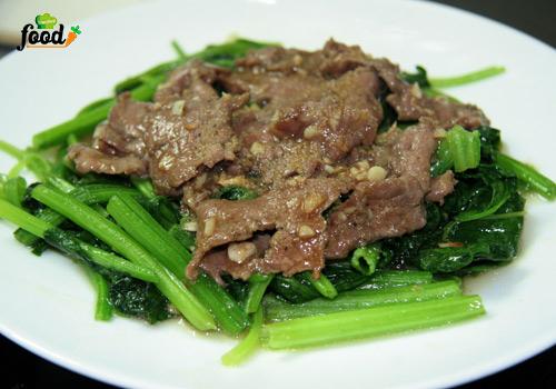 cải ngọt xào thịt bò