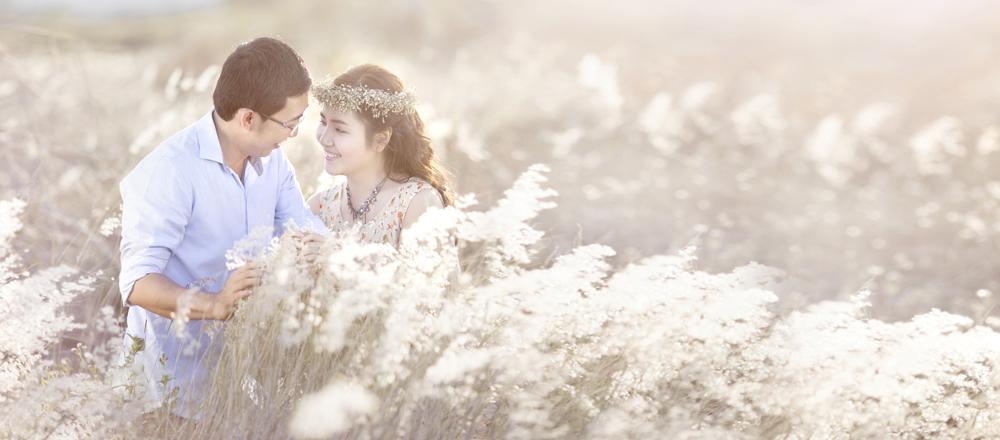 Chụp ảnh cưới ở bụi cỏ lau Nha Trang