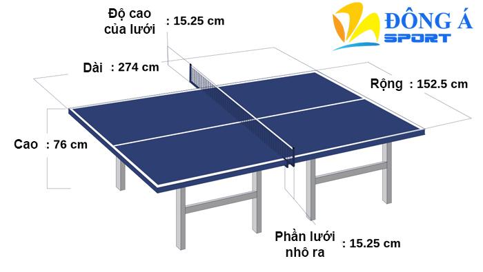 Chi tiết kích thước bàn bóng bàn