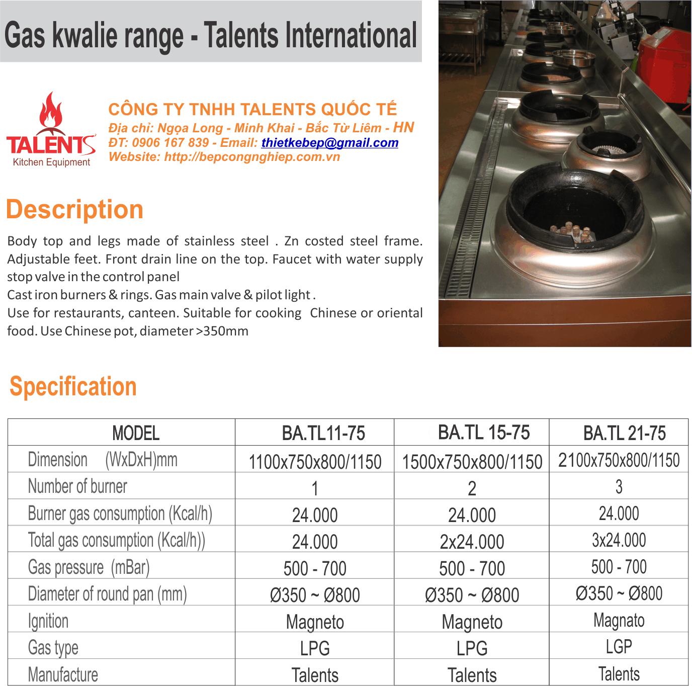 Thông số kỹ thuật bếp á