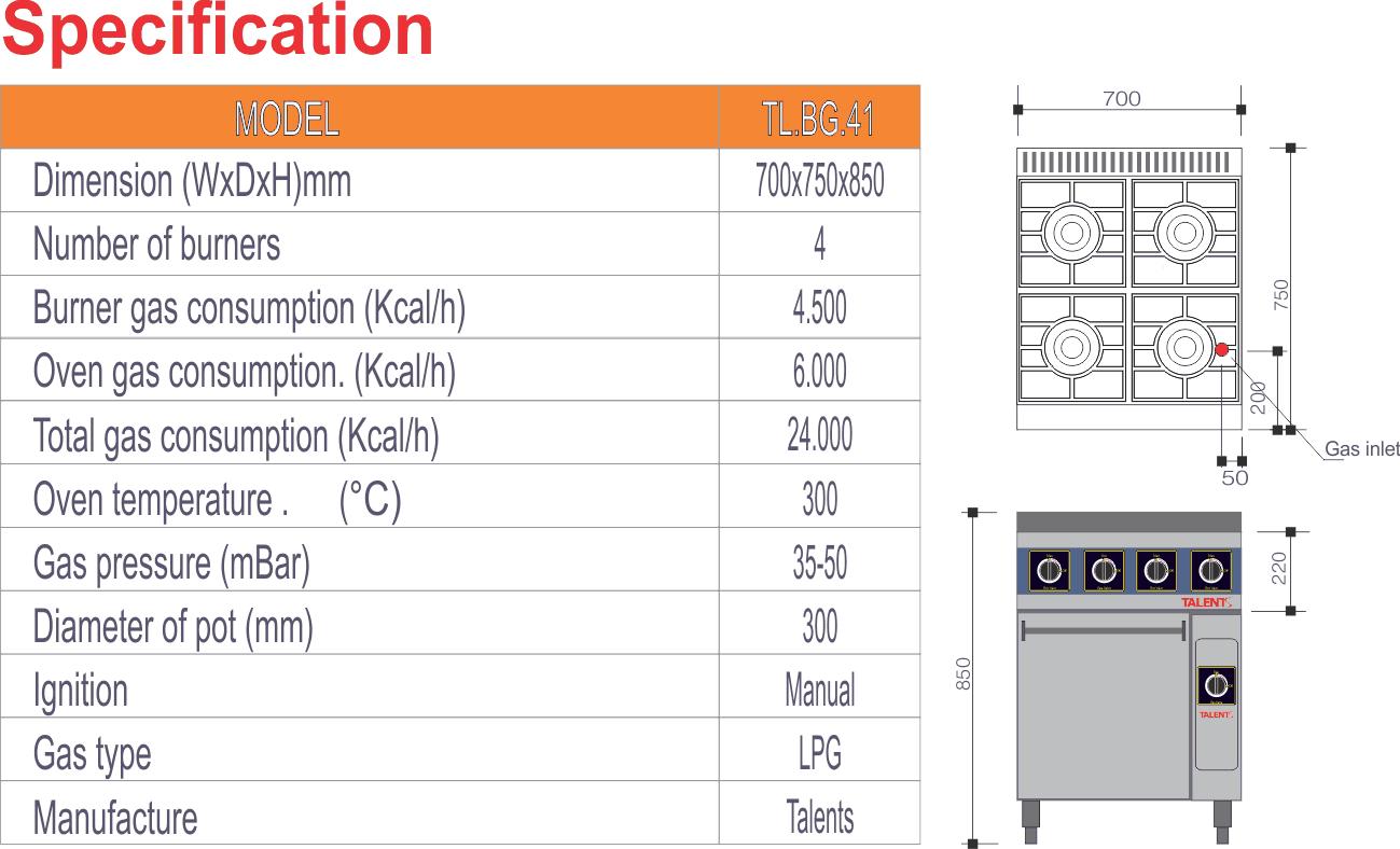 Thông số kỹ thuật bếp âu 4 họng có lò nướng