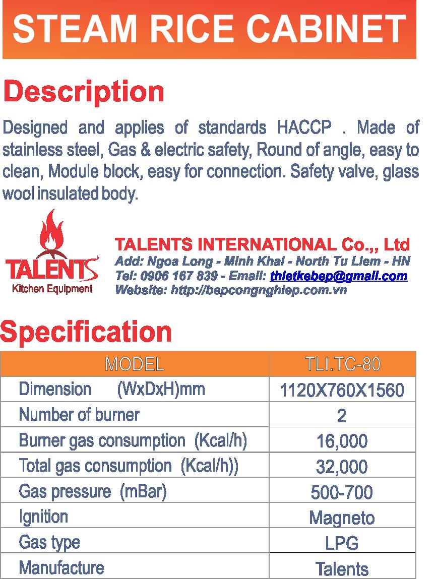 Thông số tủ nấu cơm công nghiệp 80kg