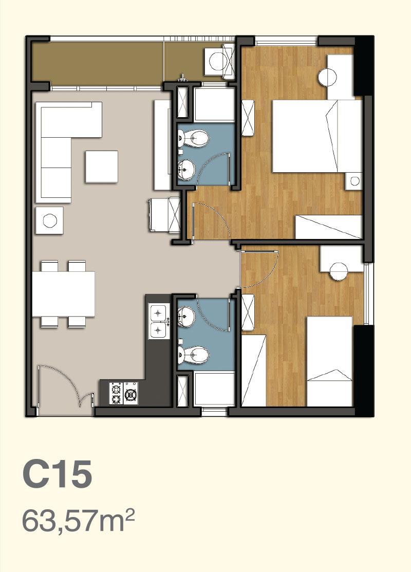 mặt bằng căn hộ 9 view 6