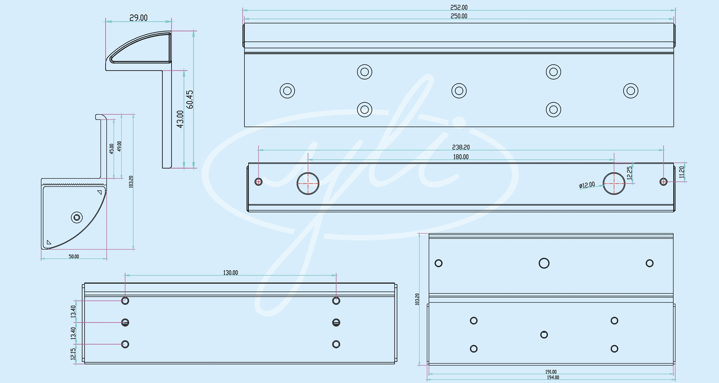 Kích thước bộ gá khóa từ MBK-280ZLC