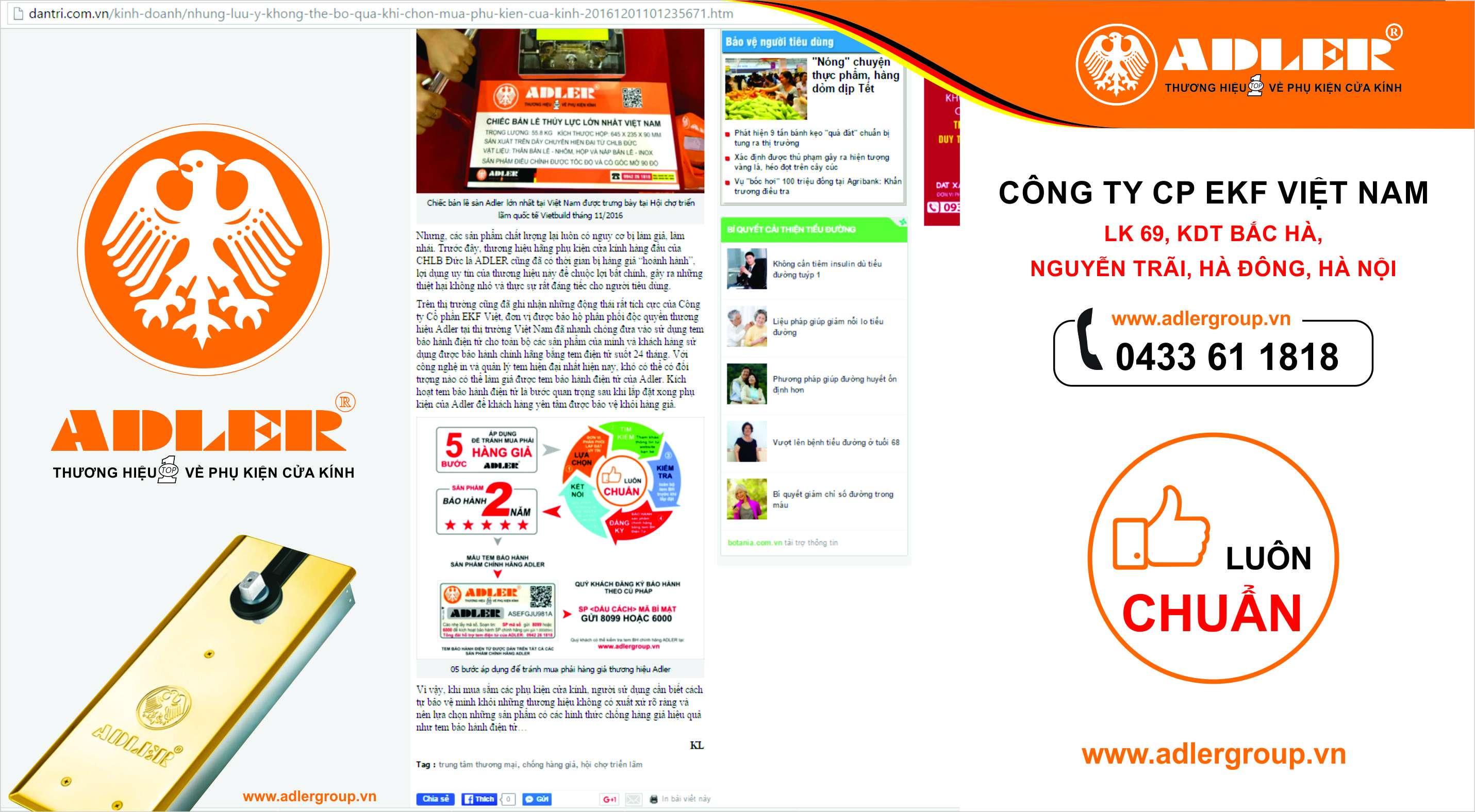 bước hướng dẫn khách hàng xác thực hàng chính hãng của Adler trên dantri.com.vn