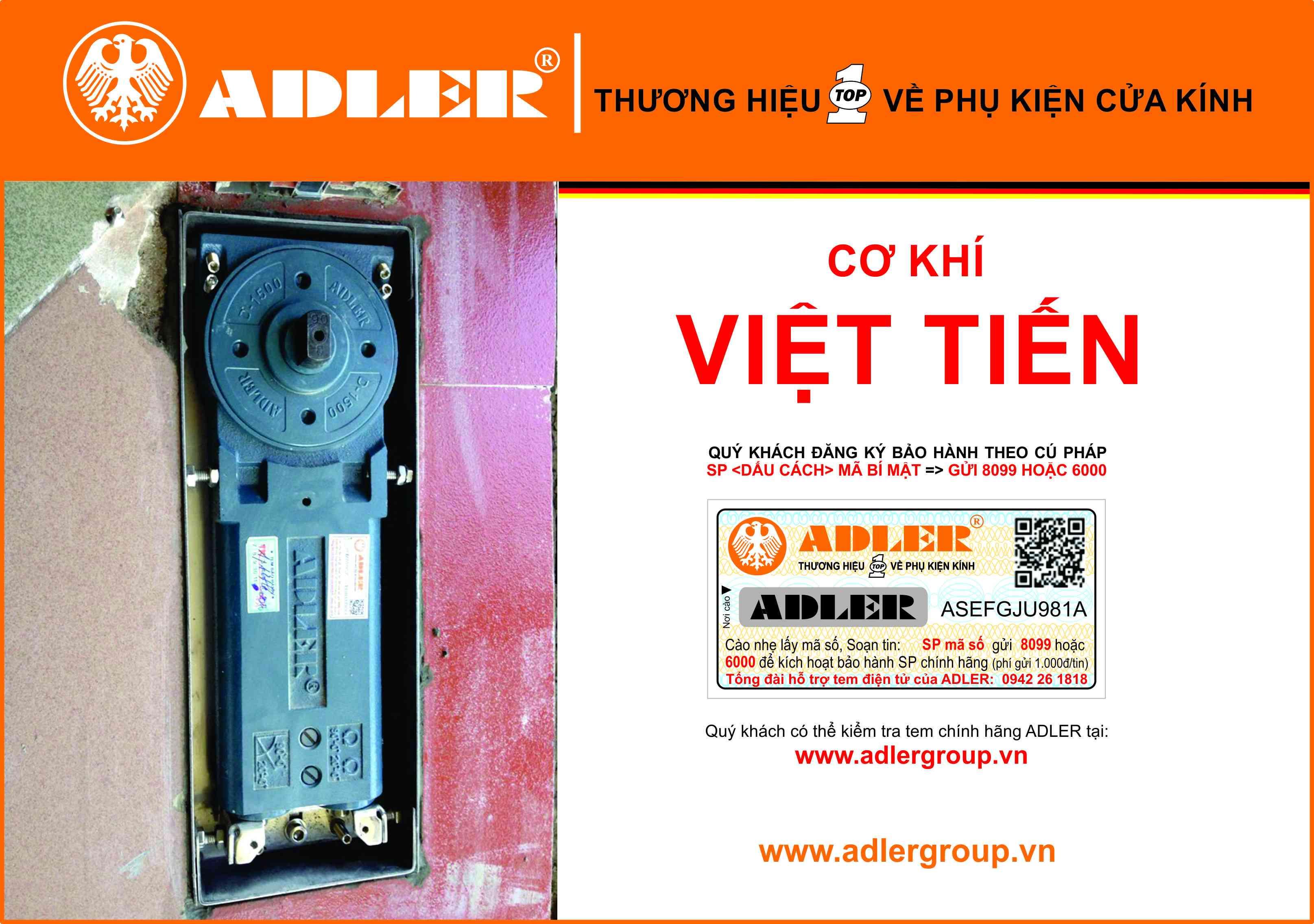 Bản lề sàn Adler nằm chắc chắn dưới sự lắp đặt của Cơ khí Việt Tiến