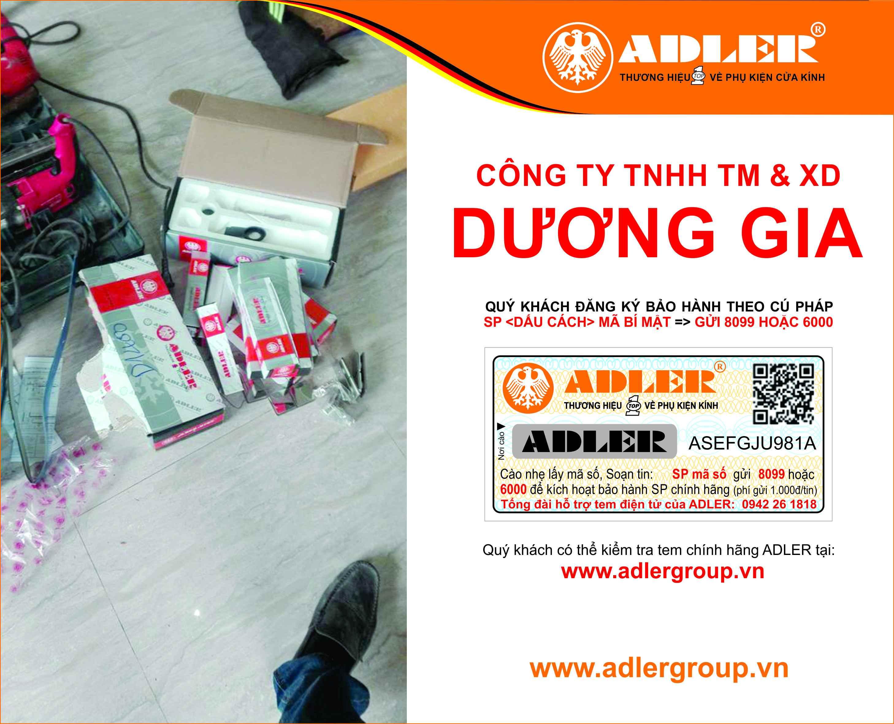đồng bộ sản phẩm Adler với Công ty Dương Gia