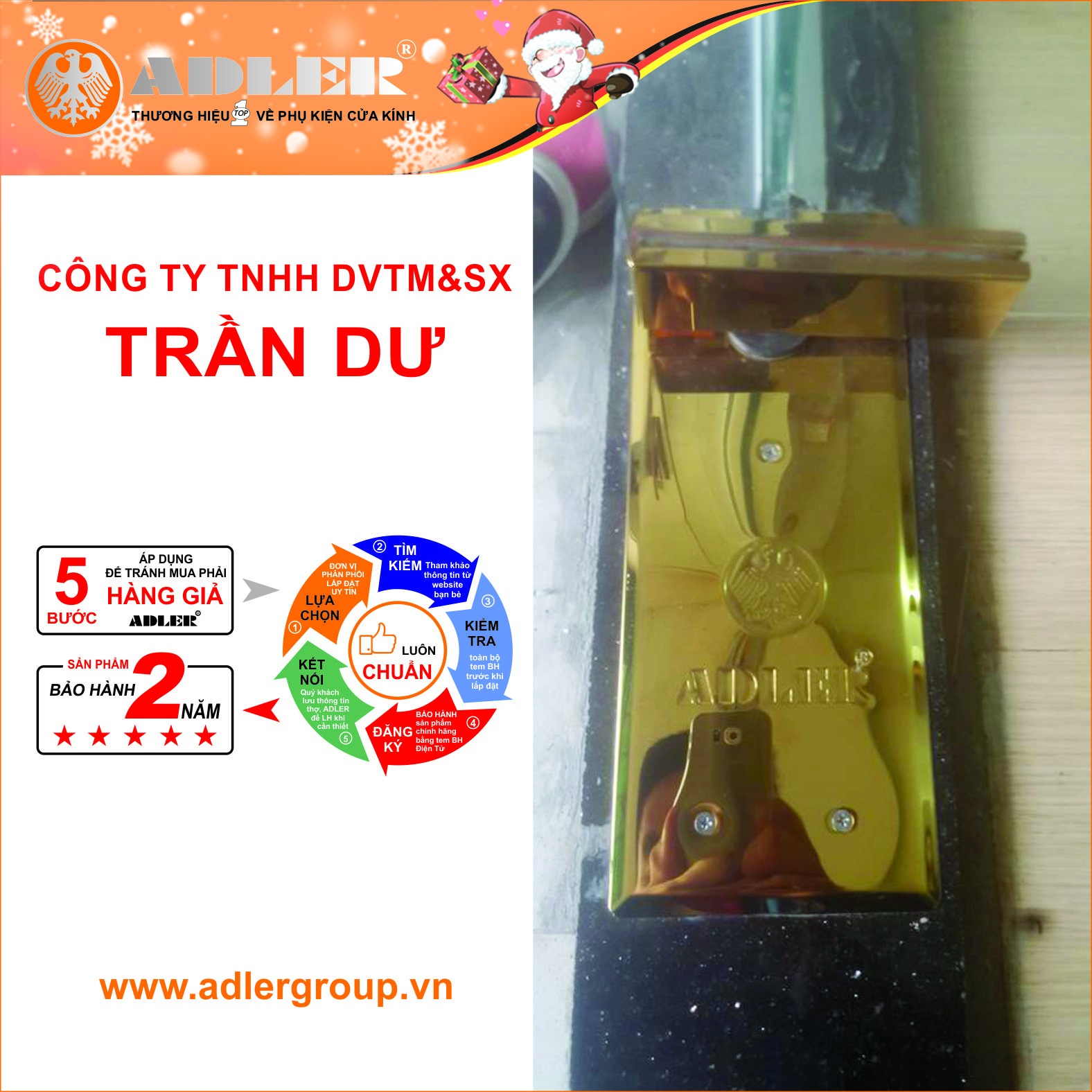 Ánh sáng vàng tỏa ra từ nắp bản lề sàn thẩm thấu Titan