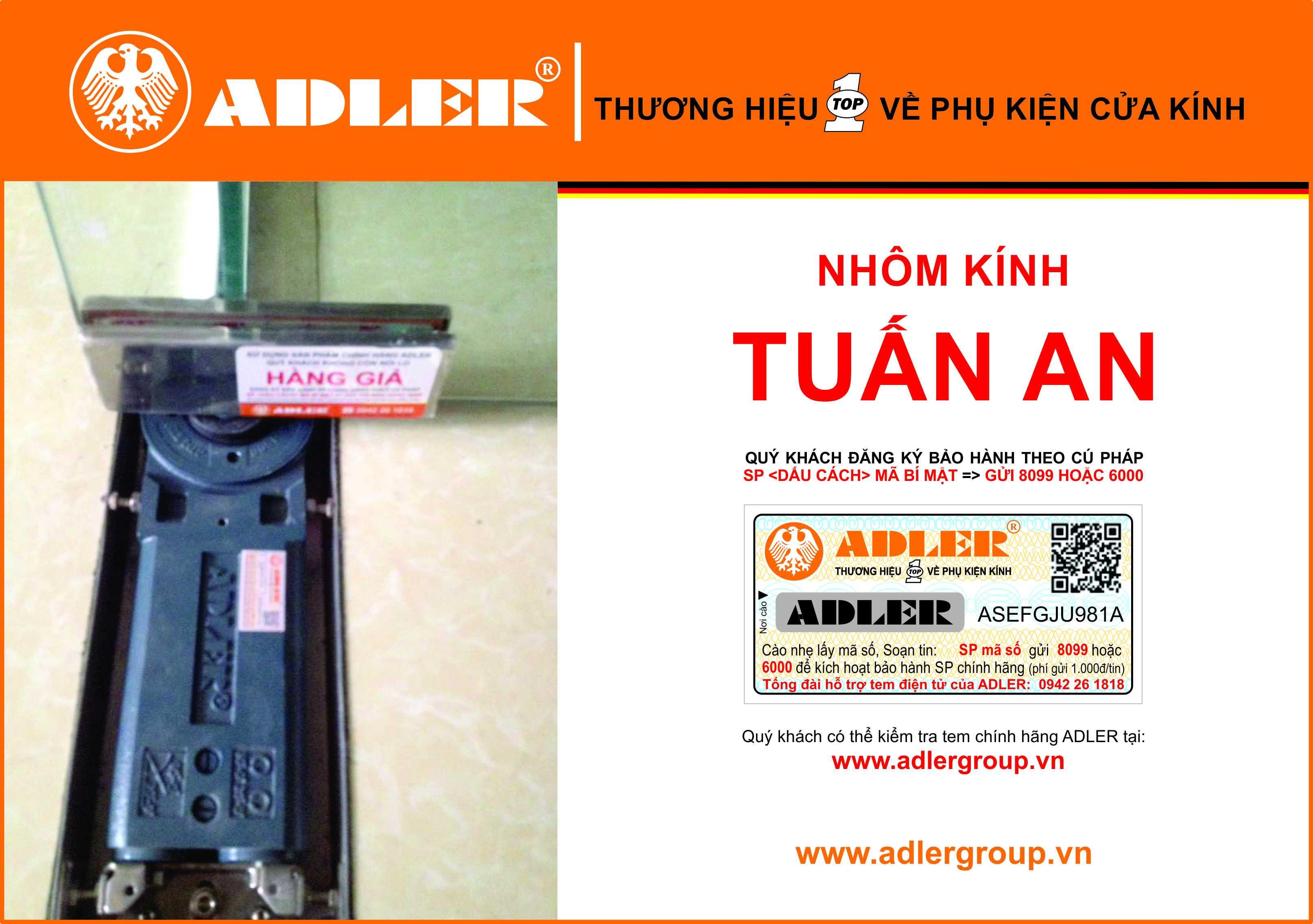 Đồng bộ sản phẩm Adler cùng nhôm kính Tuấn An