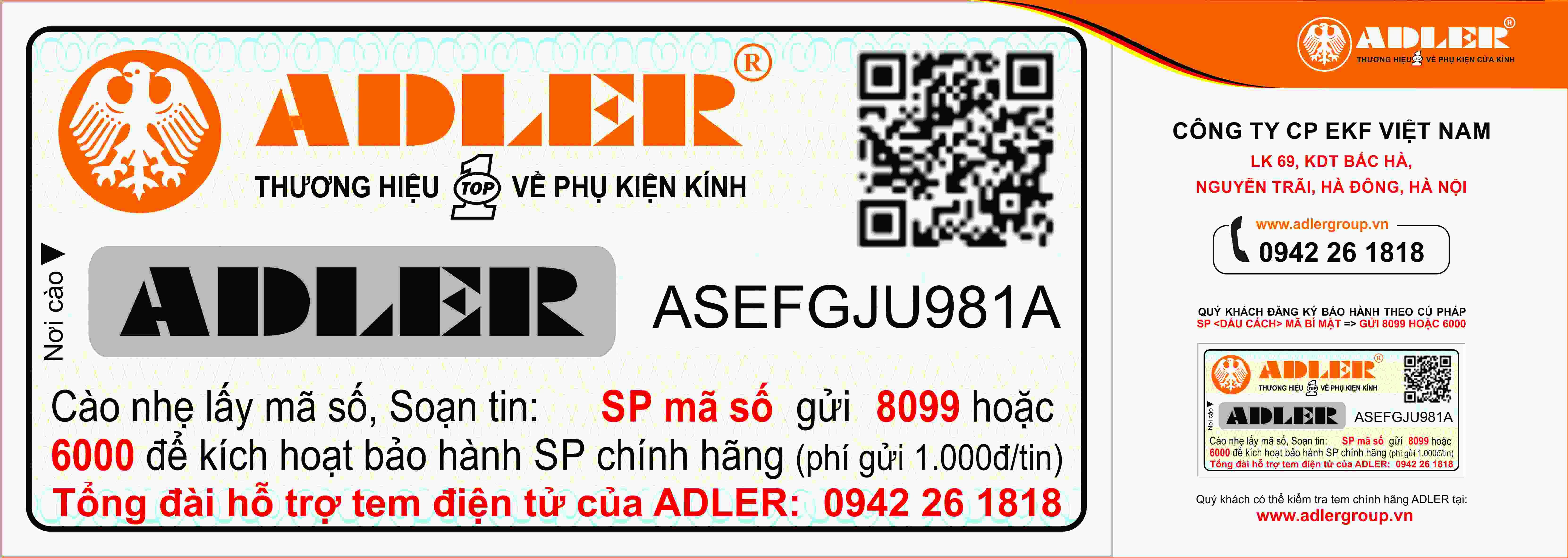 Tem bảo hành sản phẩm Adler