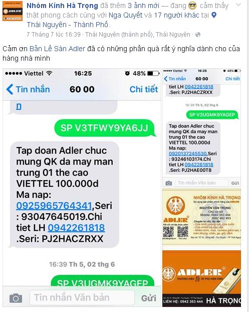 Khách hàng nhận Thẻ điện thoại và Cardvisit từ Adler