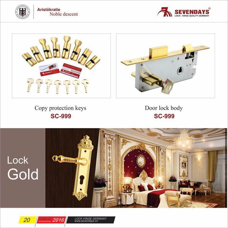 Khóa đồng vàng 24K - Thông phòng 8