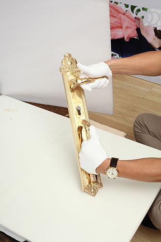 Khóa đồng tôm ốp liền tay thẳng - Vàng 24K 4