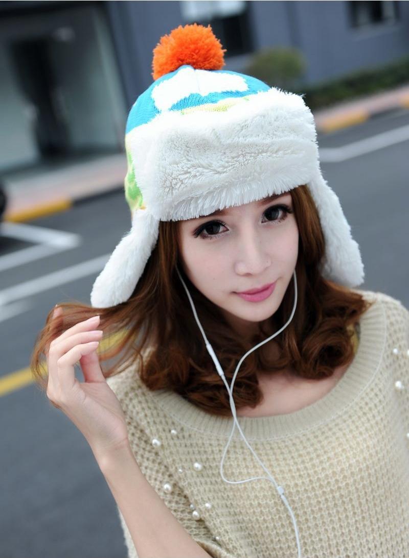 mũ len bông hàn quốc