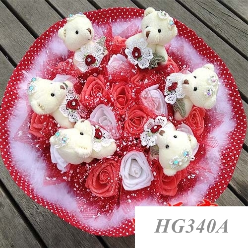 hoa gấu bông 6 gấu 21 hoa