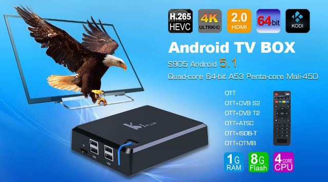 ANDROID TV BOX - K1 PLUS - CHIP AMLOGIC S905, ANDROID 5 1 GIÁ RẺ