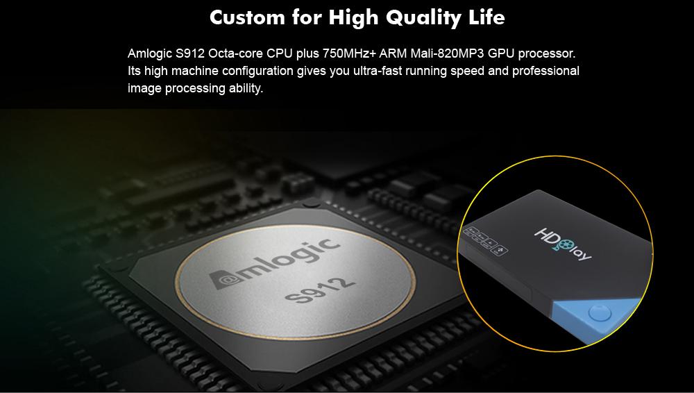 HDPLAY H8 RAM 2G / ROM 16G , AMLOGIC S912 , ANDROID 7 1 2