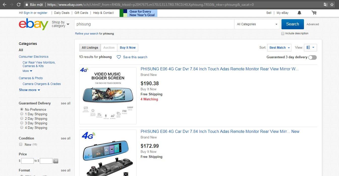Phisung được bán trên ebay