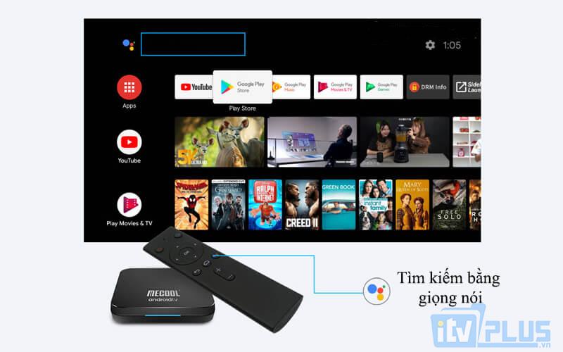 mecool km9 pro chạy android tv 9.0 ram 4gb rom 32gb - tính năng tìm kiếm bằng giọng nói nhạy