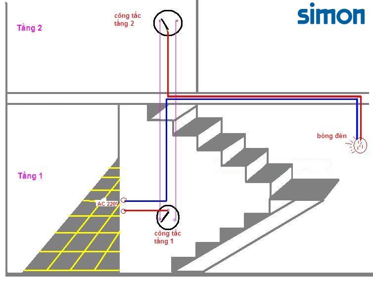 Sơ đồ lắp đặt công tắc cầu thang