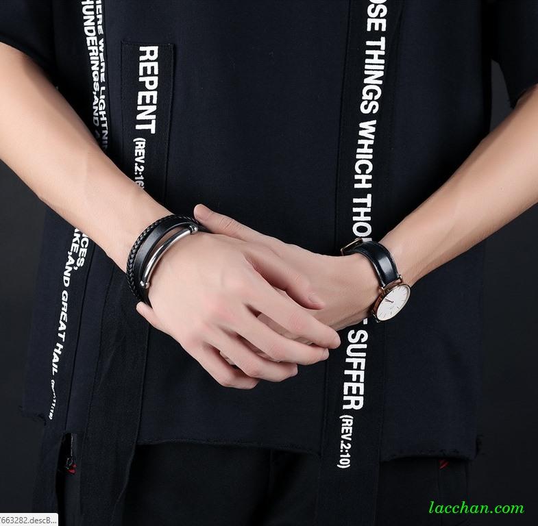 Vòng đeo tay da đan-06