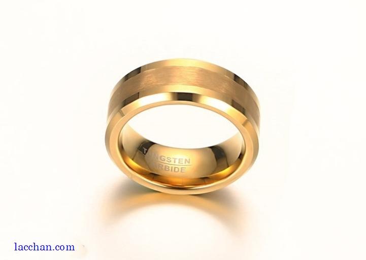 Nhẫn vonfram nam mạ vàng-06