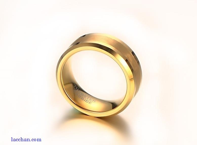 Nhẫn vonfram nam mạ vàng-08