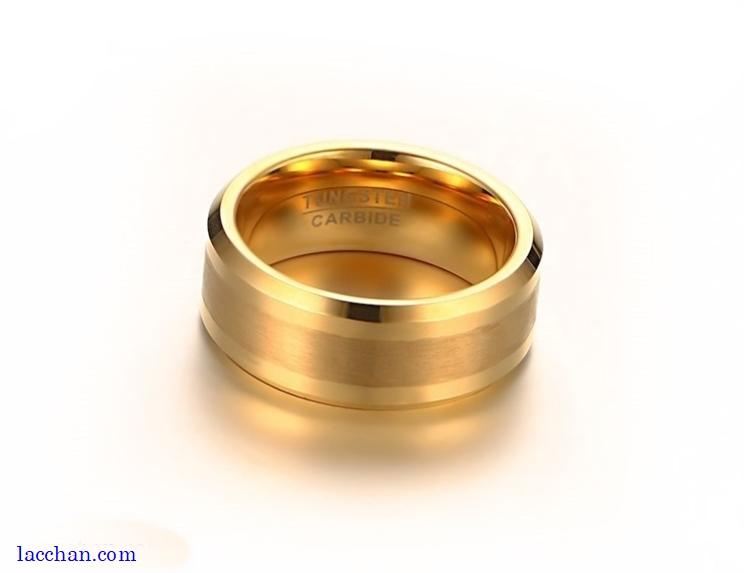 Nhẫn vonfram nam mạ vàng-09