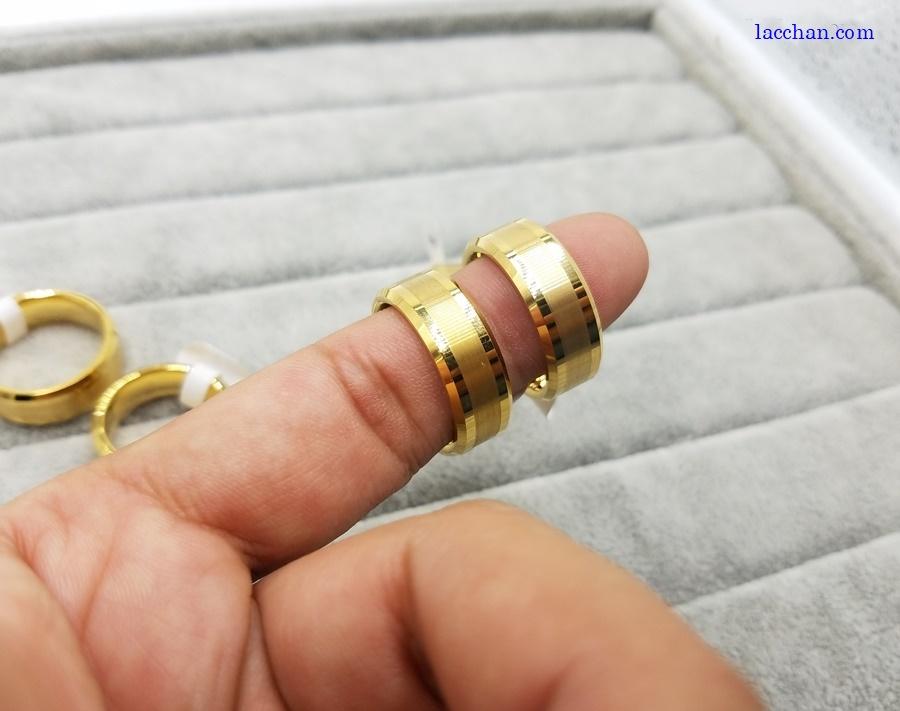 Nhẫn vonfram nam mạ vàng-10