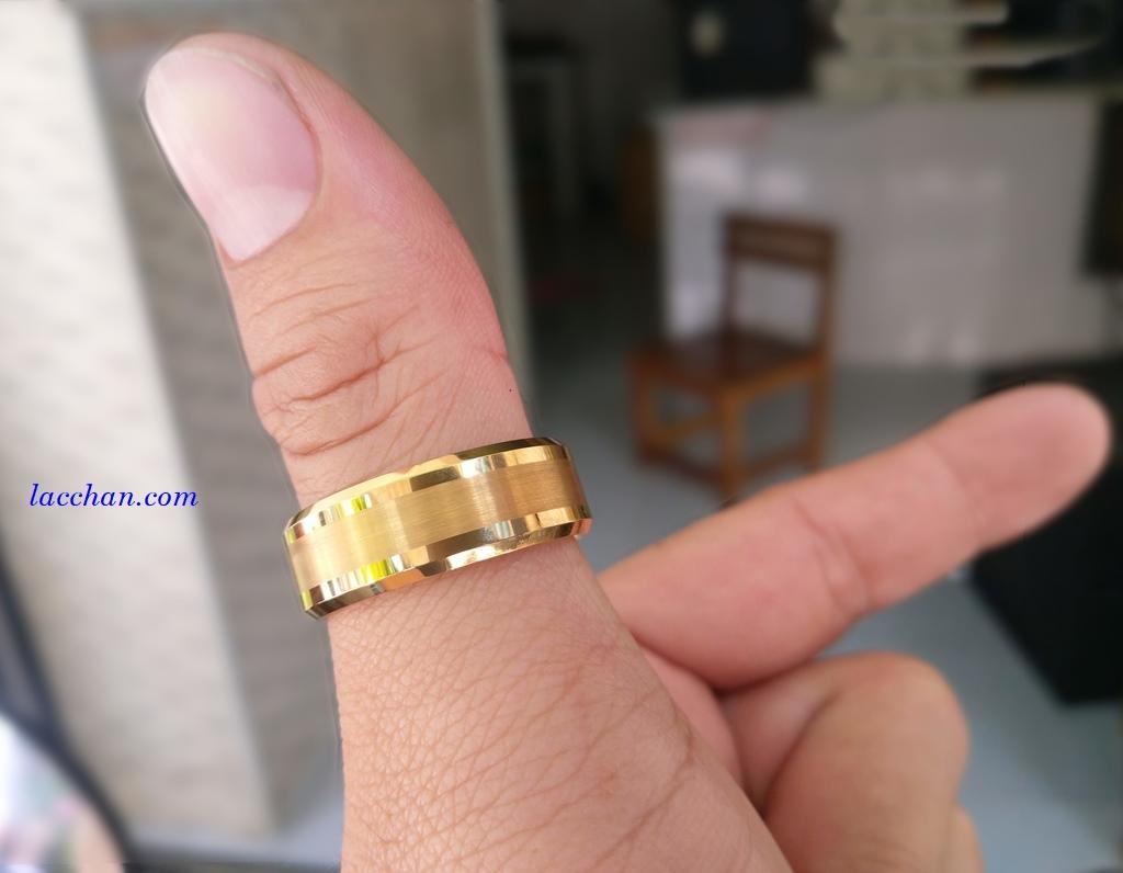 Nhẫn vonfram nam mạ vàng-13