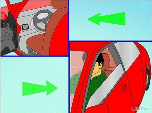 1. Mở cửa xe và ngồi vào ghế lái. Sau đó điều chỉnh ghế ngồi sao cho thoải mái, chân phải có thể đạp phanh hết hành trình. Điều chỉnh gương để quan sát phía sau và hai bên xe rõ ràng. Xác định các điểm mù của xe trước khi lái.