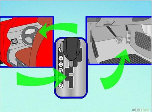 2. Xác định vì trí chân phanh, chân ga, cần số, phanh tay, phìm điều khiển trên vô-lăng.