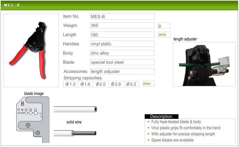 Kìm tuốt dây điện Marvel MES-B, kìm tuốt dây các cỡ từ 1.0 đến 3.2mm, kìm tuốt dây Nhật