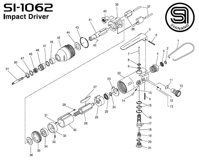 Phụ tùng thay thế cho súng Shinano, phụ tùng cho súng vặn vít SI-1062, Shinano SI-1062