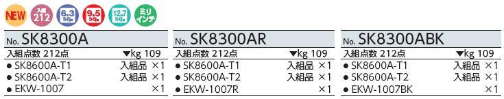 Bộ dụng cụ với lựa chọn màu sắc tử dụng cụ, SK8300AR KTC, SK8300A KTC