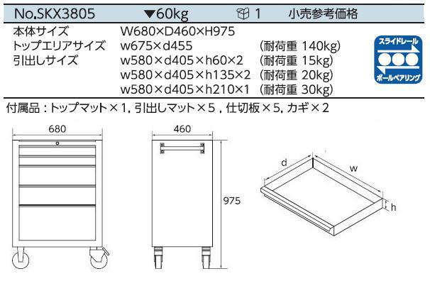 Xe dụng cụ SKX3805, SKX3805 KTC, An Khánh phân phối KTC
