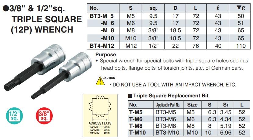 Đầu sao 12 cạnh M8, KTC TBT304TS, KTC BT3-M6, KTC BT3-M8