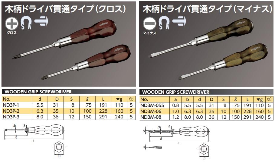 Tô vít cán gỗ cao cấp, Nepros ND3P-2, ND3P-3, ND3M-06, ND3M-08