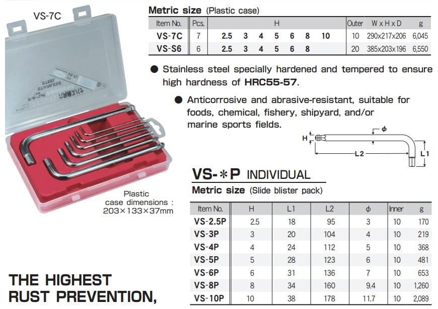 Bộ lục giác bằng thép không gỉ, Eight VS-7C, lục giác Eight, lục giác inox