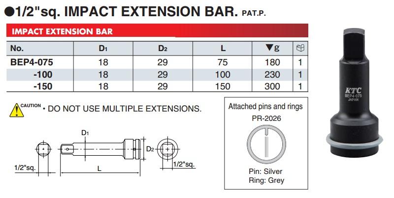Thanh nối dài 1/2 inch, KTC BEP4-075, BEP4-150, thanh nối dài cho súng 1/2 inch
