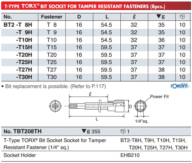 Đầu bits sao 6 cạnh có lỗ, BT2-T8H, BT2-T30H, đầu bits sao 6 cạnh có lỗ giữa,