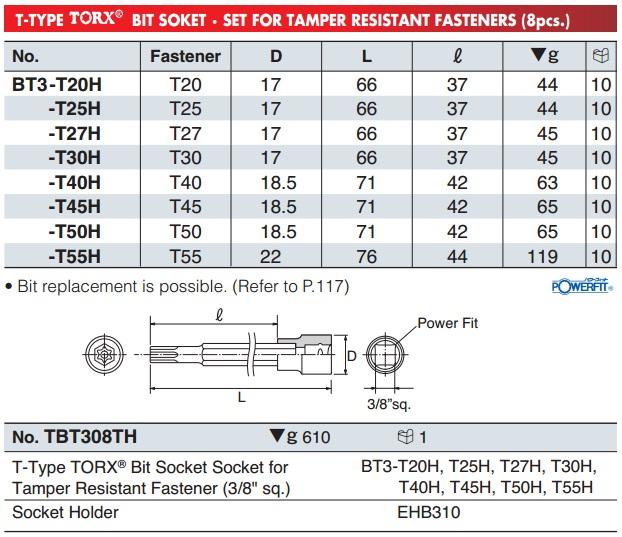 Đầu bits sao 6 cạnh có lỗ, BT3-T25H, BT3-T40H, đầu bits sao 6 cạnh có lỗ giữa,