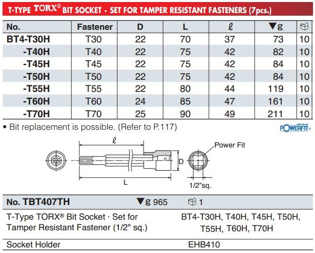 Đầu bits sao 6 cạnh có lỗ, BT4-T55H, BT4-T70H, đầu bits sao 6 cạnh có lỗ giữa,