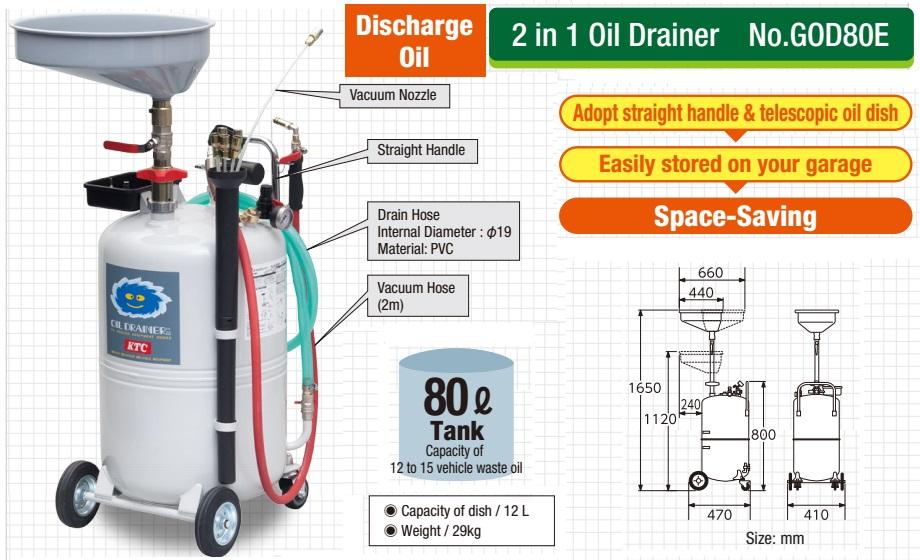Thùng hứng dầu KTC GOD80E, KTC GOD80E, thùng dầu dùng cho xưởng ô tô,