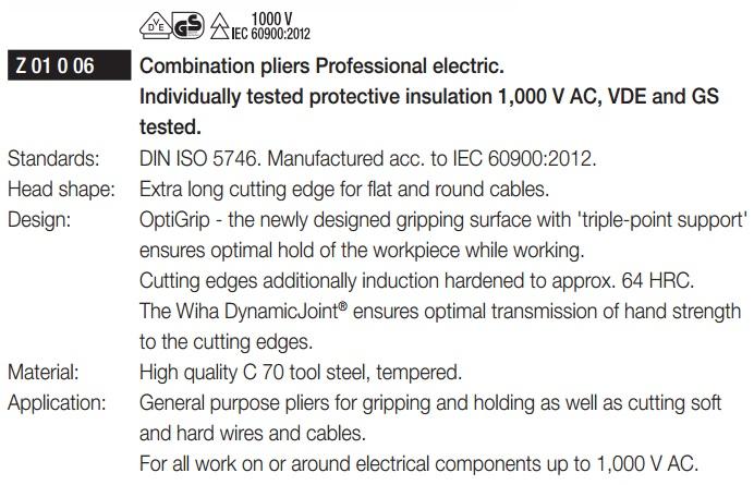 Kìm điện 1000V, kìm cách điện 1000V, kìm điện Wiha 26708, Wiha 26708