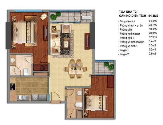 Times City T2 căn hộ 94,3m2