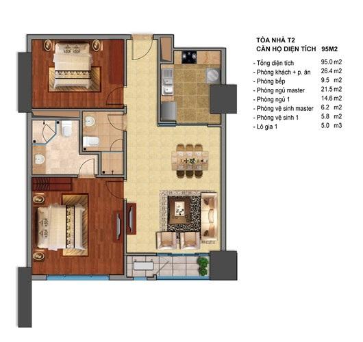 Mặt bằng điển hình căn hộ T2